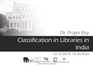 Classification in Libraries in India