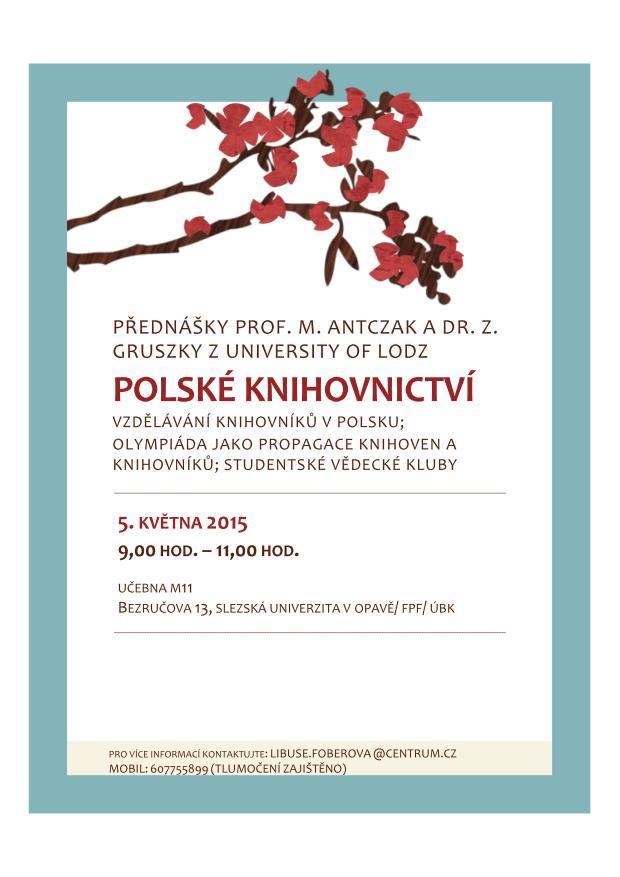 Pozvánka na přednášky o polském knihovnictví