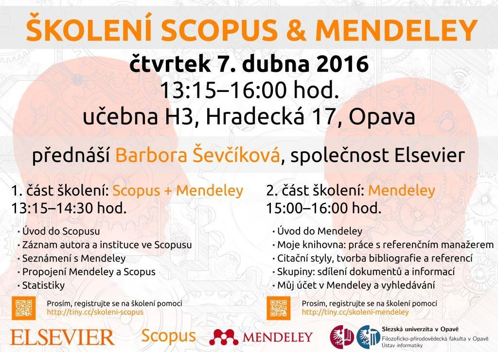 Školení Scopus & Mendeley ve čtvrtek 7. dubna